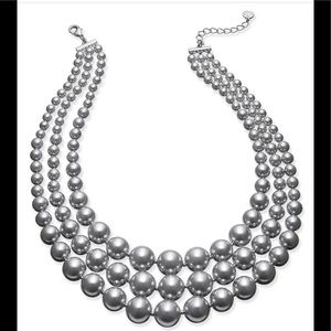 Three-row collar faux pearl necklace